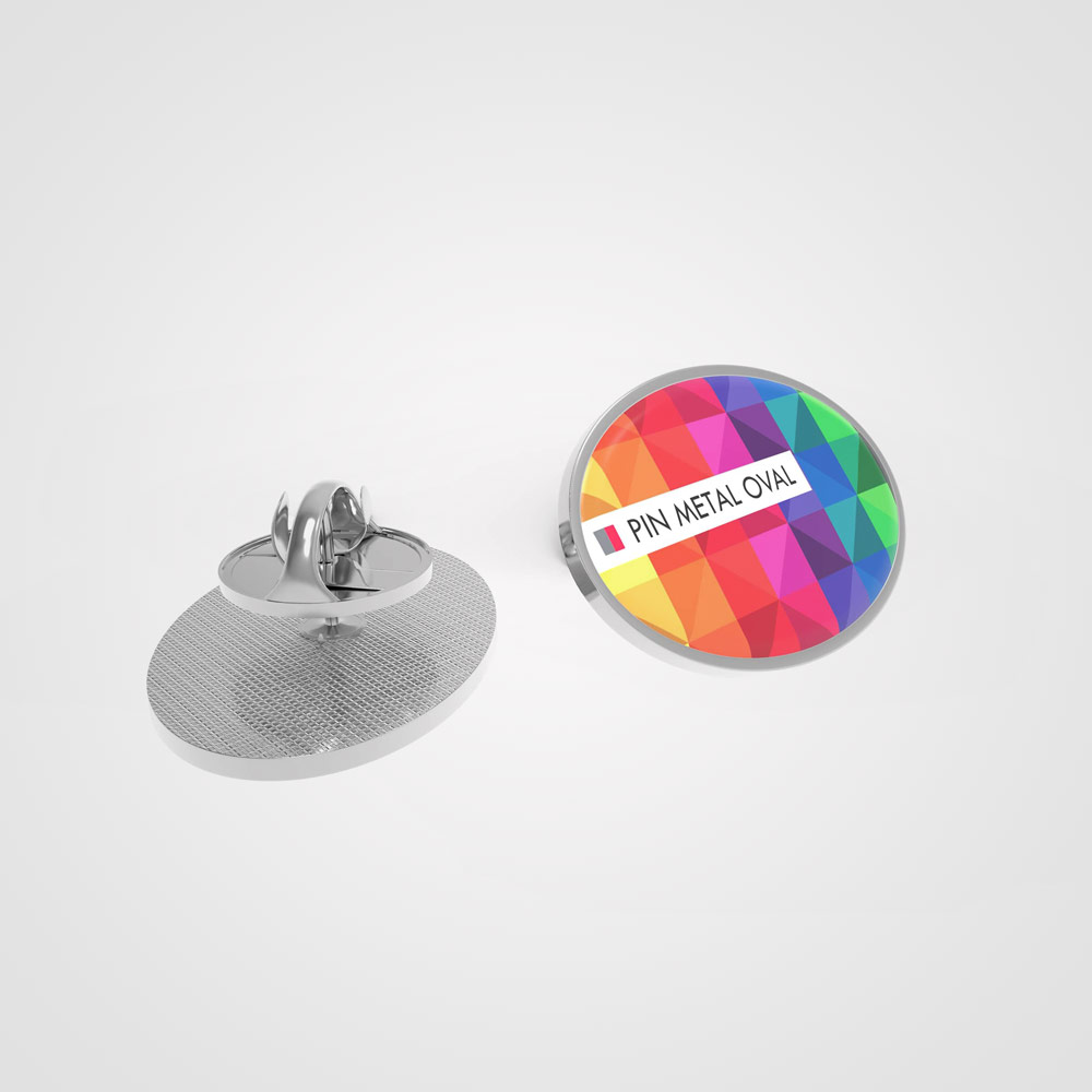 Pin Metal Oval - Oval metal pin printed in full color and topped with an extra strong acrylic layer.