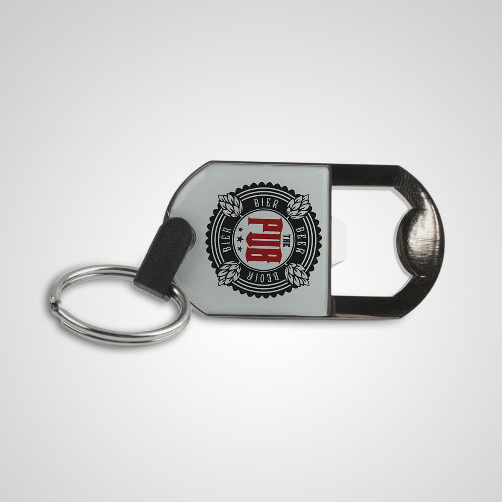 Key Ring Bottle Opener - Practical promotional metal key holder with bottle opener