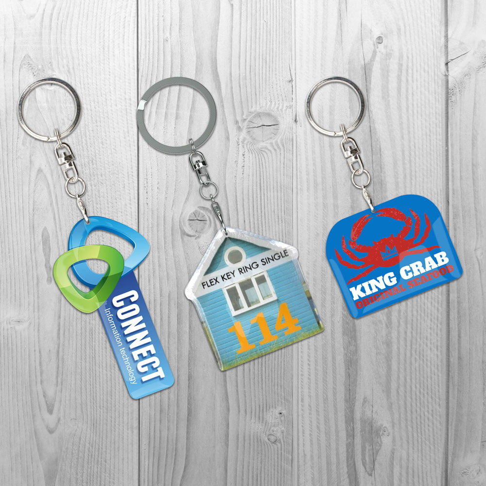 Key Ring Flex Single with product or brand shape - Key Ring Flex Single with product or brand shape