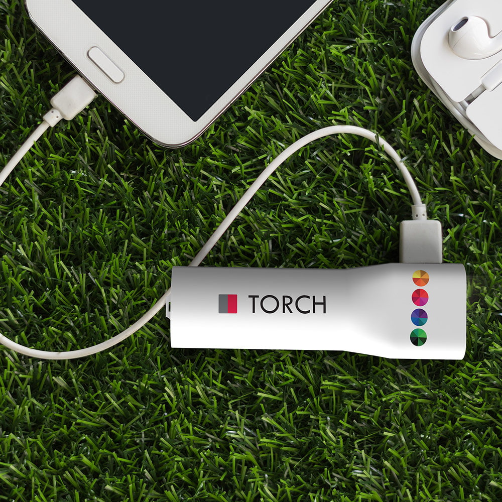 Powerbank Torch 2200 mAh - A practical powerbank with a strong 110 lumen led light