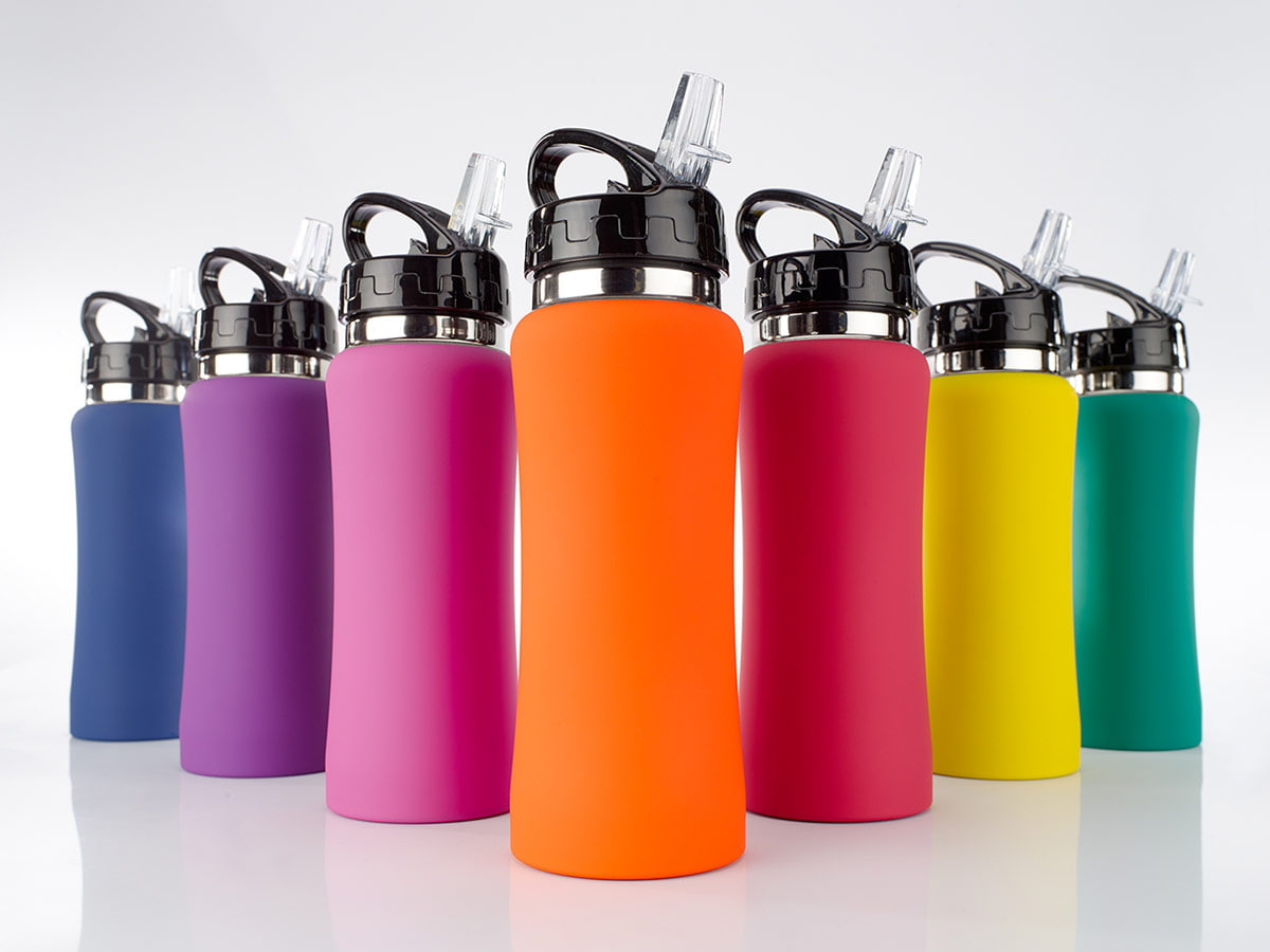 Water Bottle Colorissimo HB01 - An aluminum bottle covered with soft rubberized steel