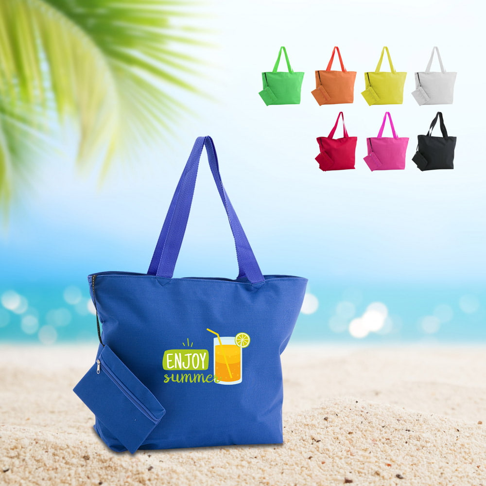 Monkey polyester beach bag - Monkey polyester beach bag with cosmetic bag