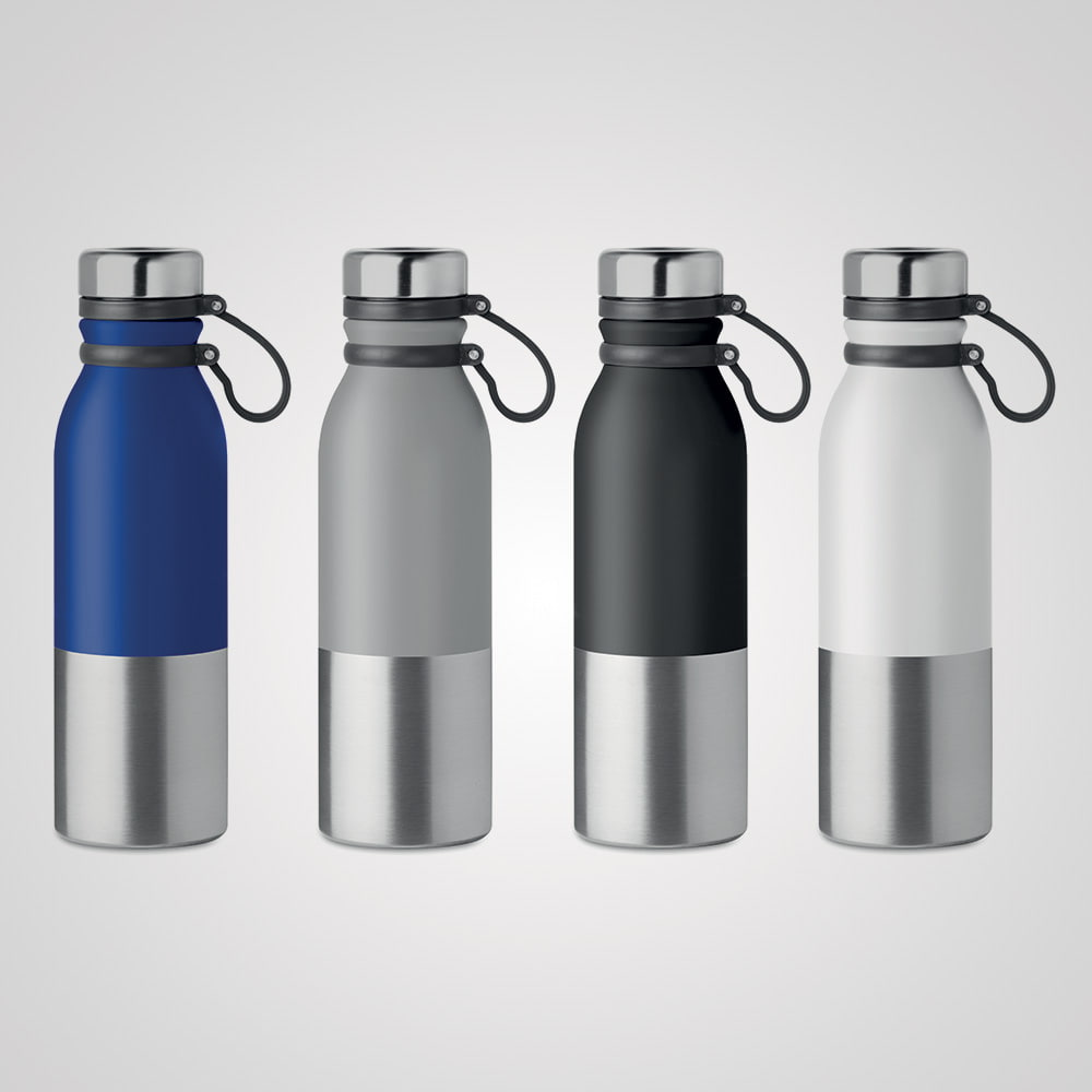 Alpina - double wall stainless steel powder coated bottle with silicone grip - Alpina - double wall stainless steel powder coated bottle with silicone grip