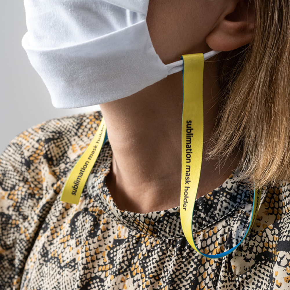 Sublimation Mask Holder Duo - Lanyard with VELCRO® to hold the protection mask around the neck